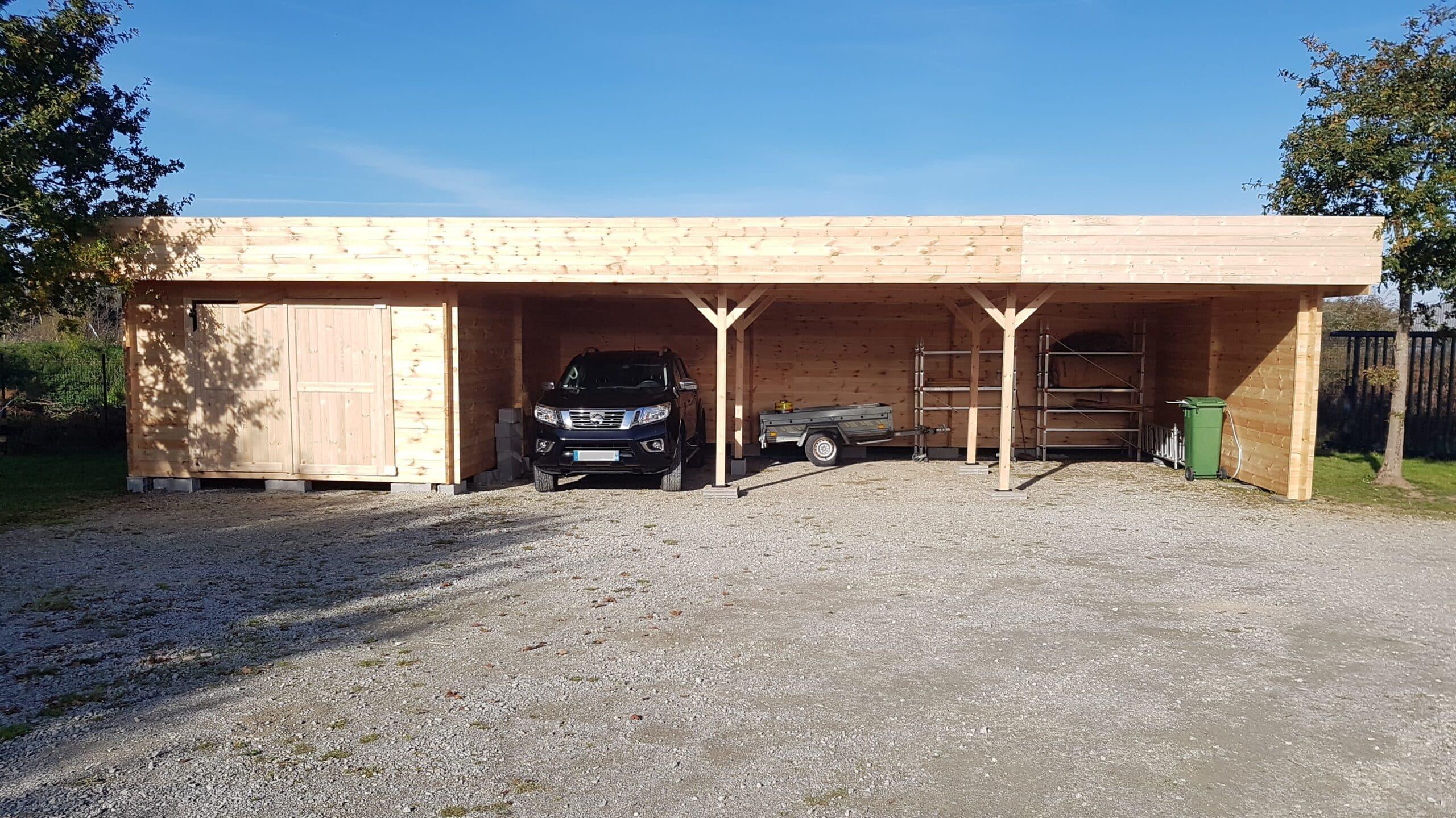 carport, garage, bois, européenne de chalets