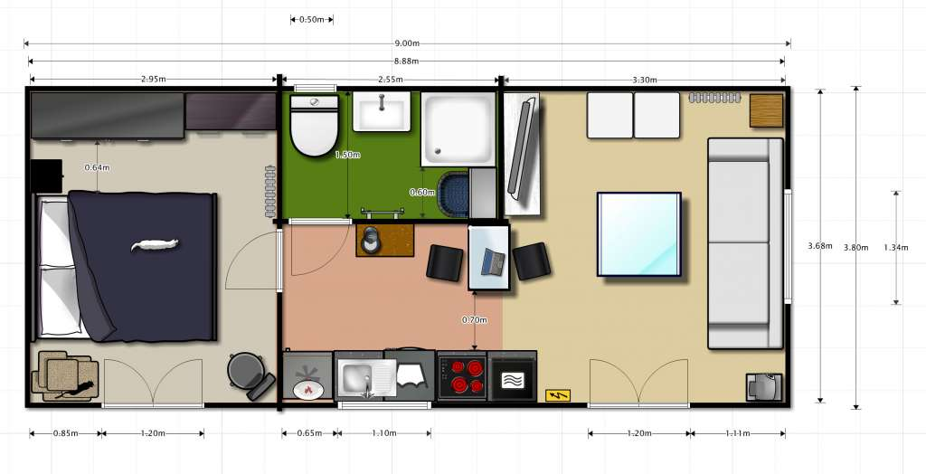 PLAN STUDIO 33 m² MONOPENTE